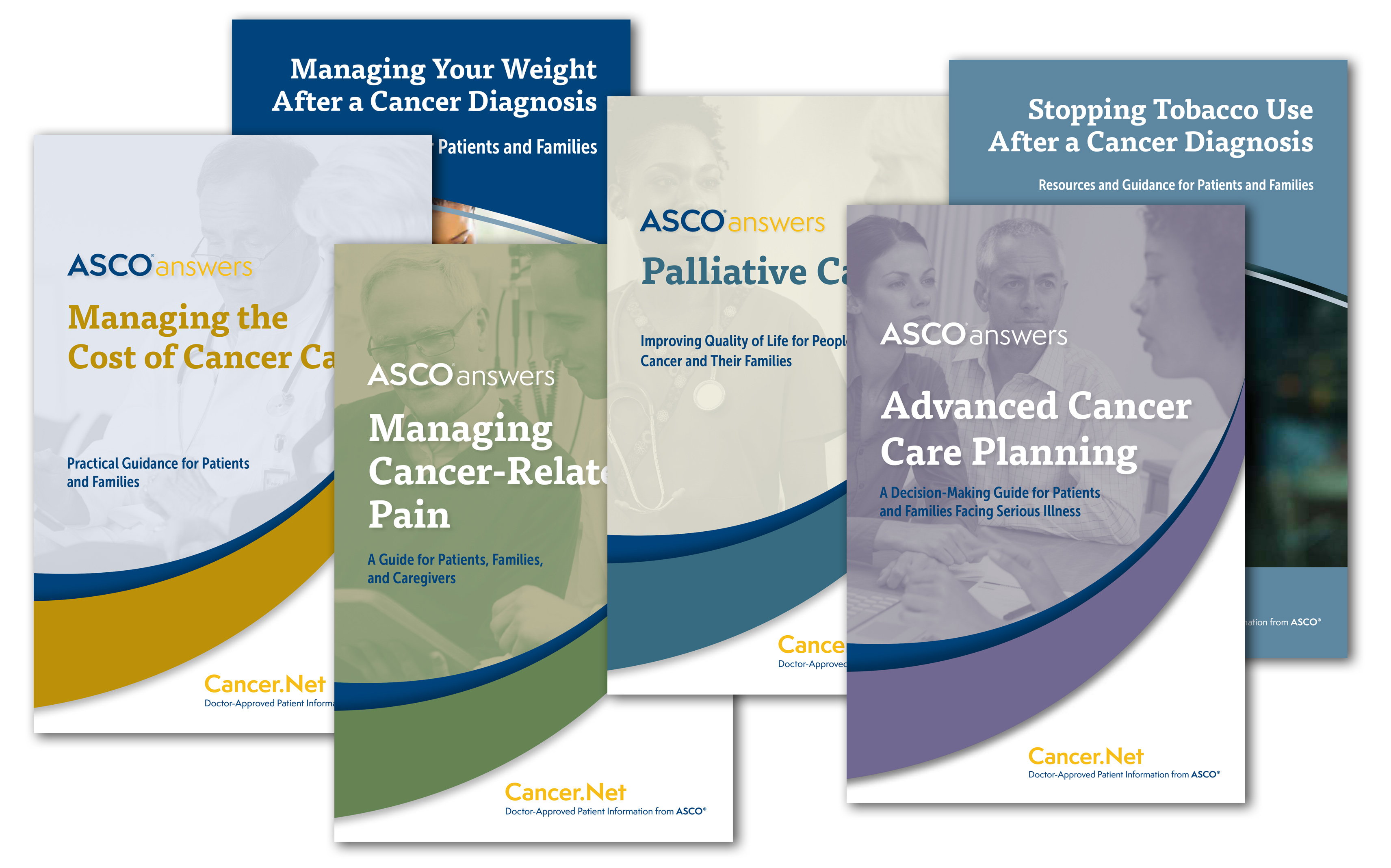 Stack of booklets, including Managing Your Weight After a Cancer Diagnosis, Managing the Cost of Cancer Care, Managing Cancer-Related Pain, Palliative Care, Advanced Cancer Care Planning, and Stopping Tobacco Use After a Cancer Diagnosis
