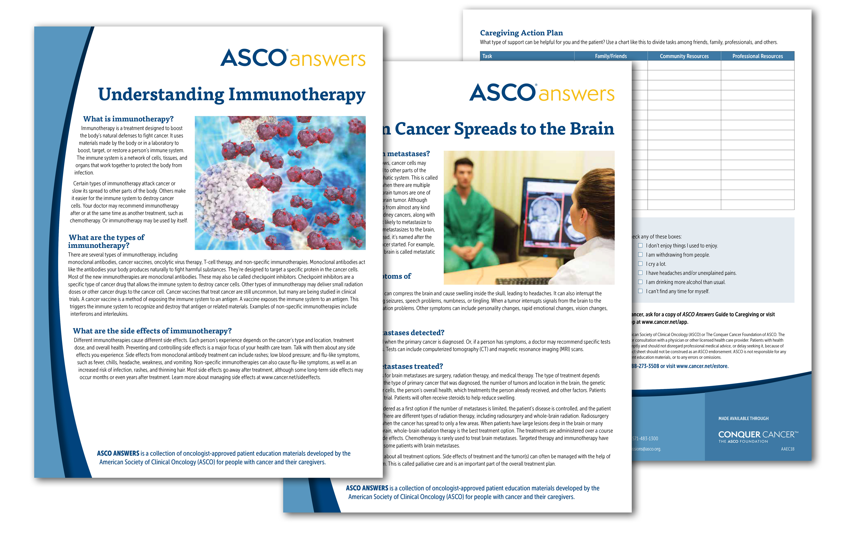 Front and back views of fact sheets including Understanding Immunotherapy and When Cancer Spreads to the Brain
