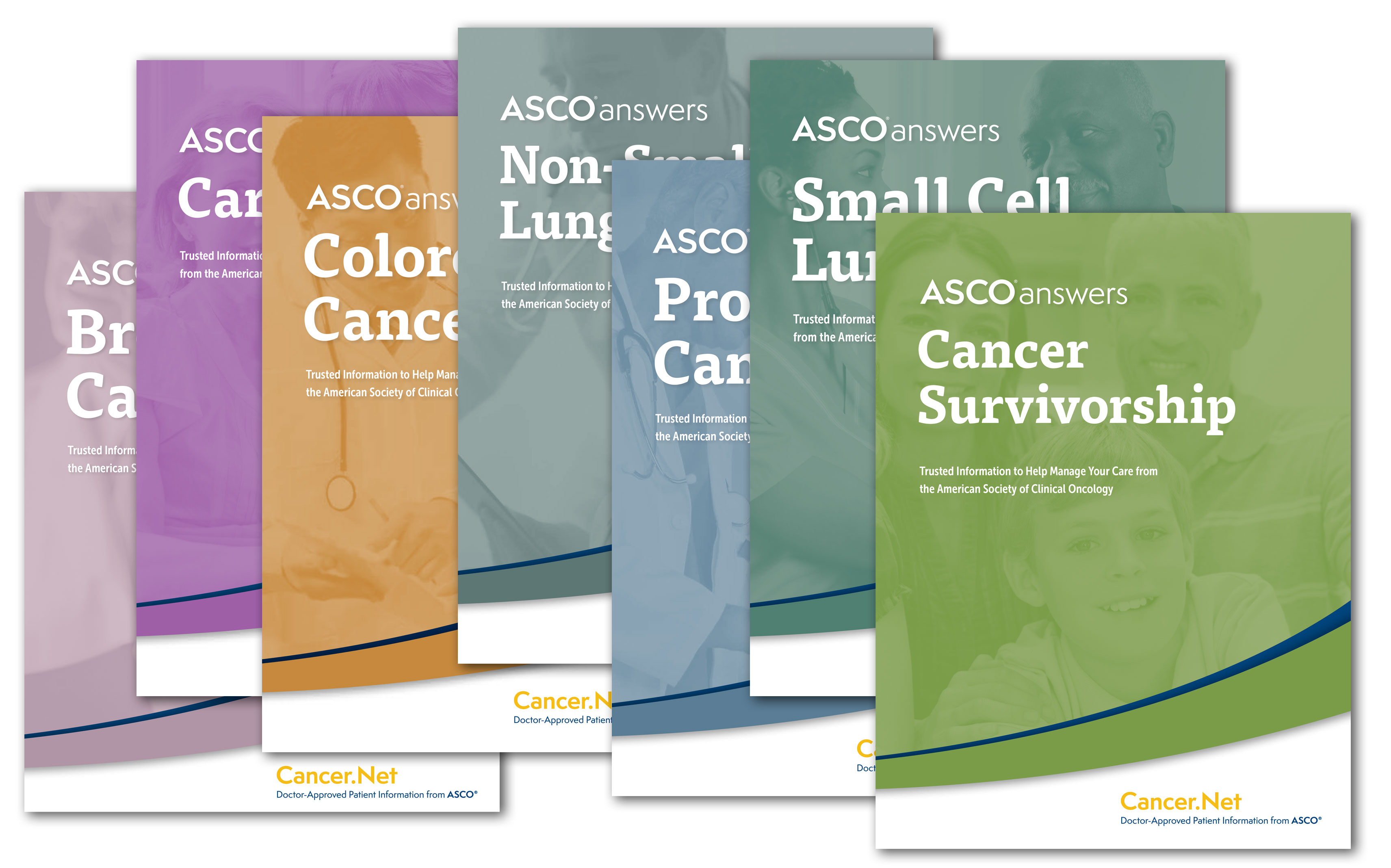 Covers of guides in various colors: the top reads ASCO Answers: Cancer Survivorship