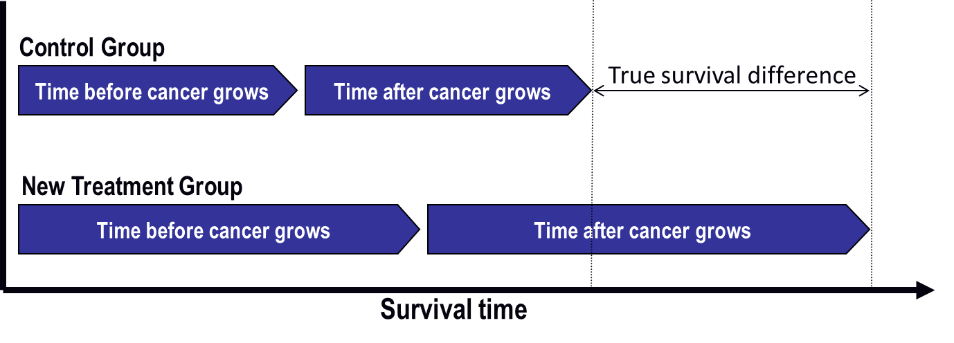 This graph compares the survival time--made up of the time before the cancer grows plus the time after the cancer grows--between the control group and the new treatment group. The difference in survival time between the two groups is the true survival difference.