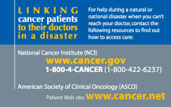 ASCO and NCI Disaster Card Front